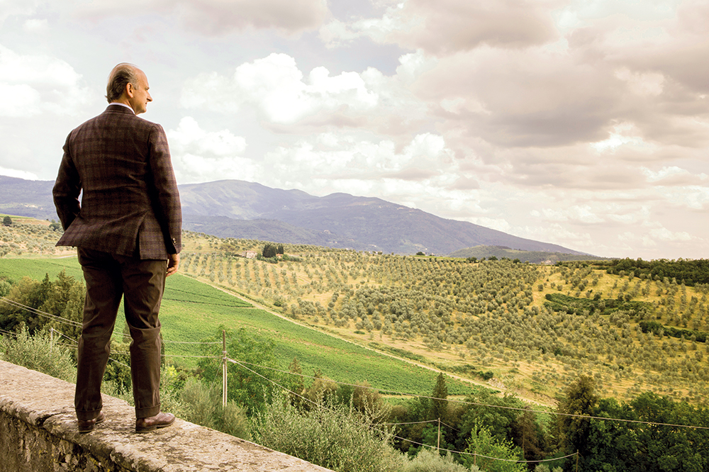 Lamberto Frescobaldi admires the views of the vineyards across Castello Nipozzano